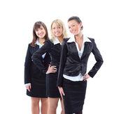 Mladá podnikatelka a její tým, izolovaných na bílém pozadí — Stock fotografie