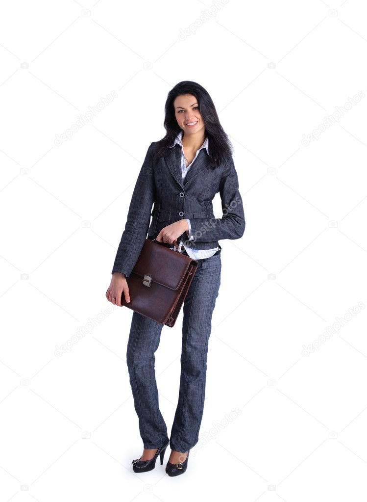 Full length portrait of a young business woman with briefcase — Stock Photo #8072822