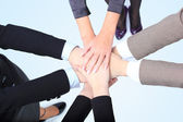 Closeup of successful business women with their hands together — Stock Photo