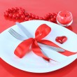 Royalty-Free Stock Photo: Romantic Dinner on red background