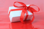 White box, bow and ribbon for Valentine's Day — Stock Photo