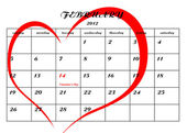 Calender page with a detail of the valentine day — 图库照片