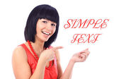 Attractive caucasian smiling woman showing something — Stock Photo