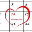Stock Photo: Calender page with detail of valentine day