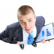 Stock Photo: Business man showing the upward trend of a graphic chart.
