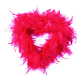 Red feathers-boas, heart shape, photo on the white background — Stock Photo