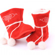 Stock Photo: Red winter boots for baby isolated on white