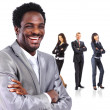 African Business man on a white background with his team — Stock Photo