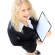 Top view of smiling business woman with clipboard — Stock Photo