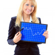 Business woman showing the upward trend of a graphic chart. — Stock Photo