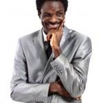 Porträt eines Mannes des zufriedenen jungen Afroamerikaner Geschäft nachzudenken, etwas isoliert auf weiss — Stockfoto