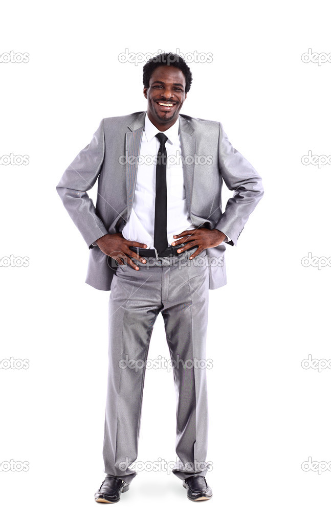 Portrait of African American businessman in the full-length isolated on white background — Stock Photo #9209176
