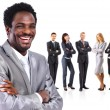 Portrait of business man standing together with colleagues and smiling — Stock Photo #9452836