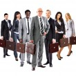 Business team formed of young business men and business women standing with suitcase — Stock Photo