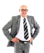 Portrait of a cheerful young business man wearing glasses. — Stock Photo