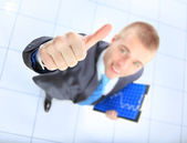 Top view of businessman giving OK gesture — Stok fotoğraf