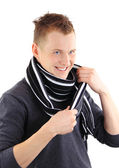 Happy man showing off his scarf — Stock Photo