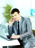 Smart business man using laptop in modern office — Stok fotoğraf