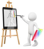 3D Artist - Artist painting in a tablet pc — Stock Photo