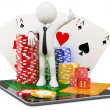 3D Man - Casino online games - Stock Photo