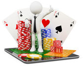 3D Man - Casino online games — Stock Photo