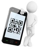 3D Man - Mobile QR codes — Stock Photo