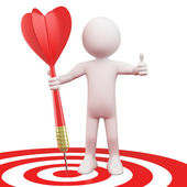 Man with a red dart on target bull's eye — Stock Photo