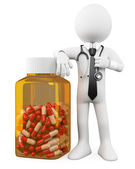 3D Doctor with a huge bottle of pills — Stock Photo