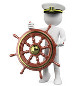 3D Captain sailing a wooden rudder — Stock Photo