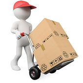 3D worker pushing a hand truck with boxes — Stock Photo