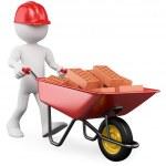 3D worker pushing a wheelbarrow with bricks — Stock Photo