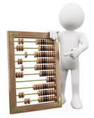 3D man with a huge abacus — Stock Photo