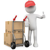 3D worker with a package and thumb up — Stock Photo
