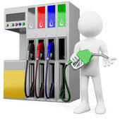3D worker at a gas station with a petrol pump — Stock Photo