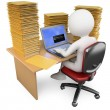 Stock Photo: 3D Clerk working in office with much to do