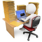 3D Clerk working in the office with much to do — Stock Photo