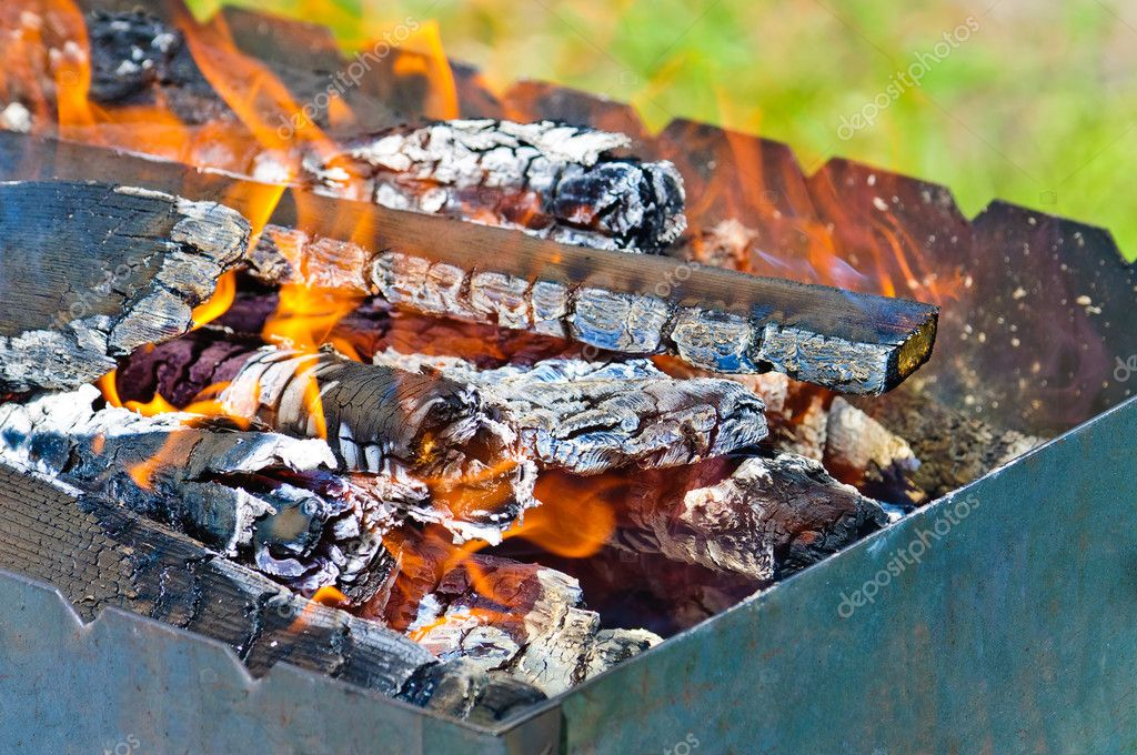 Firewood in the brazier. Fire closeup — Stock Photo #10583765