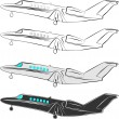 Vector stylized aircraft. Vector illustration. Small aircraft passenger a — Vector de stock #7974704