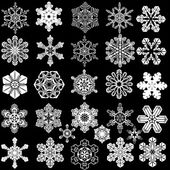 Vector images of snowflakes. Collection of 28 symmetrical snowflakes. — Stock Vector