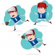 Baseball Player in Action — Stock Vector