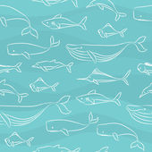 Seamless Doodle Pattern - Big Fishes — Stock Vector