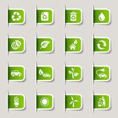 Etichetta - icone web ecologico — Vettoriale Stock