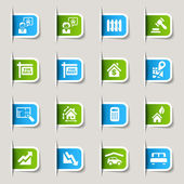 Label - Real estate icons — Stock Vector