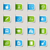 étiquette - icônes de l'école — Vecteur