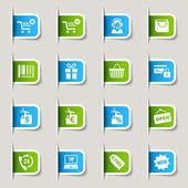 étiquette - shopping icônes — Vecteur