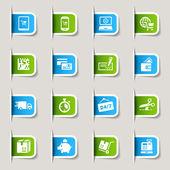 Etykieta - zakupy ikony — Wektor stockowy