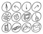 Iconos techno dibujados a mano — Vector de stock