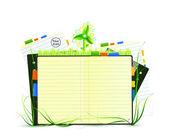 緑の自然のノートブック — ストックベクタ