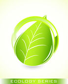 Global leaf green concept — Vector de stock