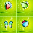 Glass shapes and leaves background - Stok Vektr